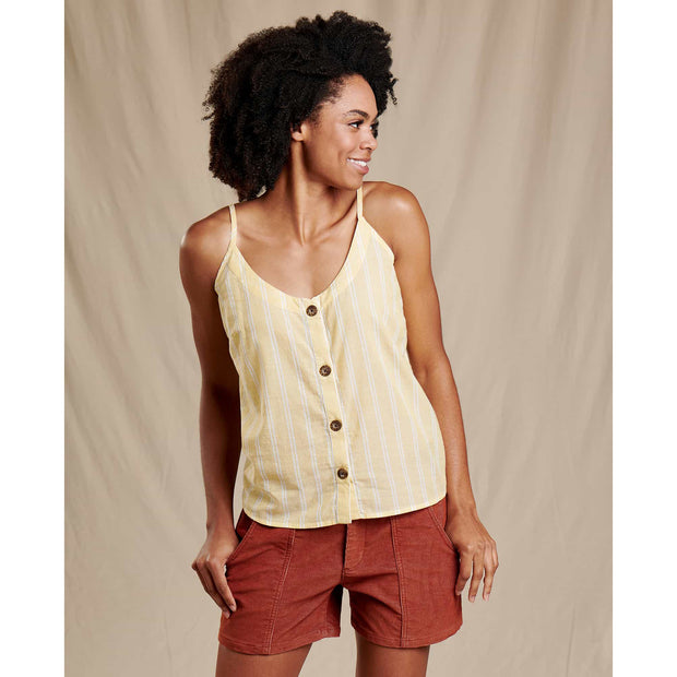 Airbrush Button Tank Top for Women
