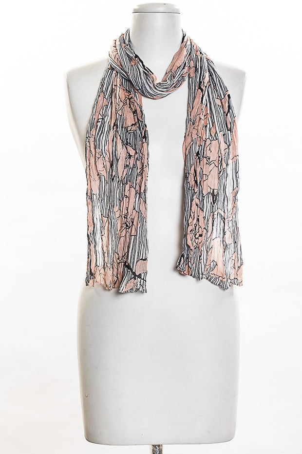 Stripes With Flowers Scarf for Women