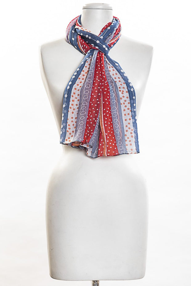 Hearts And Dots Print Scarf for Women
