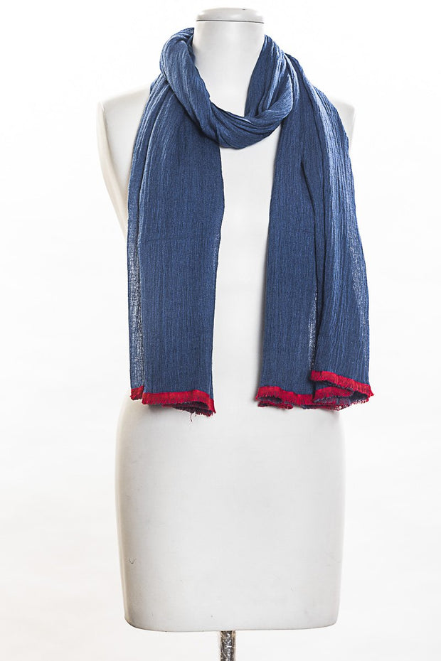 Solid Scarf With Contrast Border for Women