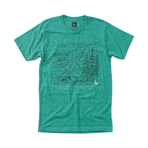 Hippy Tree Howling Tee for Men Heather Green