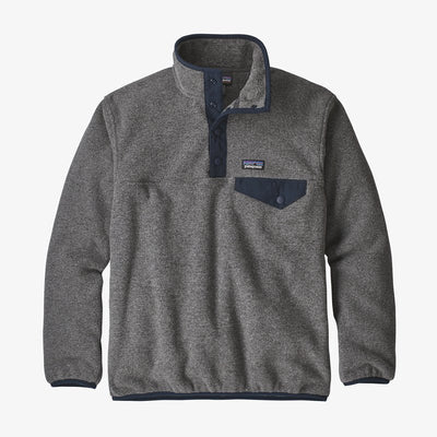 Patagonia Lightweight Synchilla Snap-T Fleece Pullover for Boys Nickel with Navy Blue
