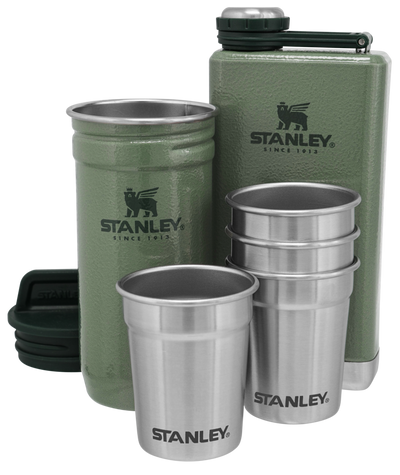 Stanley Adventure Pre-Party Shot Glass + Flask Set Hammertone Green