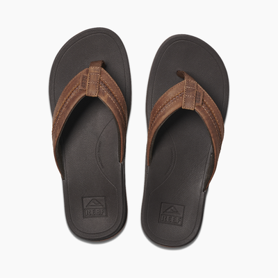 Reef Leather Ortho-Coast Sandals for Men Brown