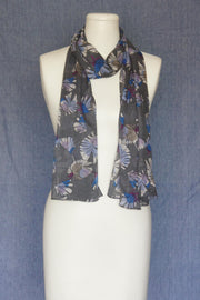 VSA Bright Flowers Scarf for Women Grey