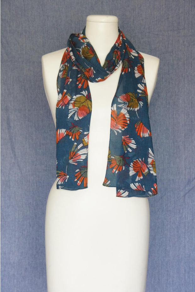 VSA Bright Flowers Scarf for Women Teal