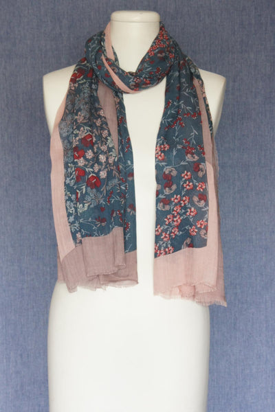 VSA Flowers with Solid Frame Scarf for Women Jeans