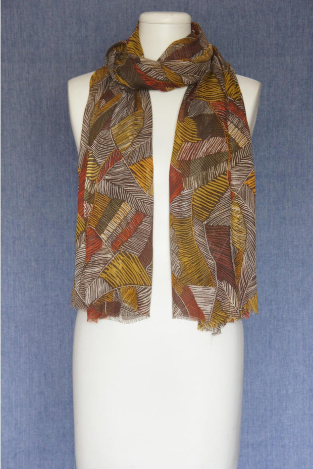 VSA Hand Painted Feathers Scarf for Women Olive