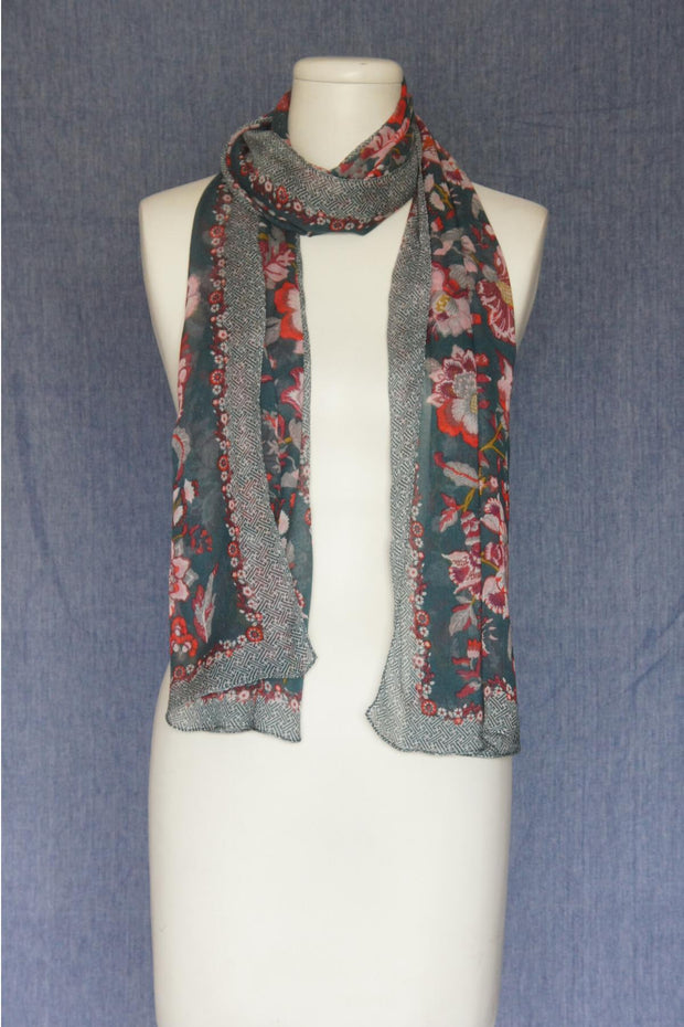 VSA Frames Print Scarf for Women Petrol