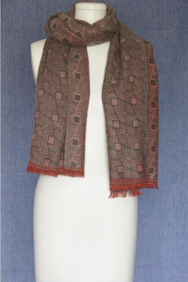 VSA Chain Look Jacquard Scarf for Women Old Rose