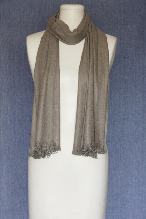 VSA Solid Color Fancy Yarn Pashmina Scarf for Women Grey