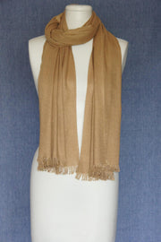 VSA Solid Color Fancy Yarn Pashmina Scarf for Women Camel
