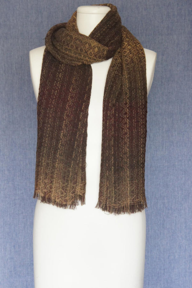 VSA Honeycomb Weave Scarf for Women Brown