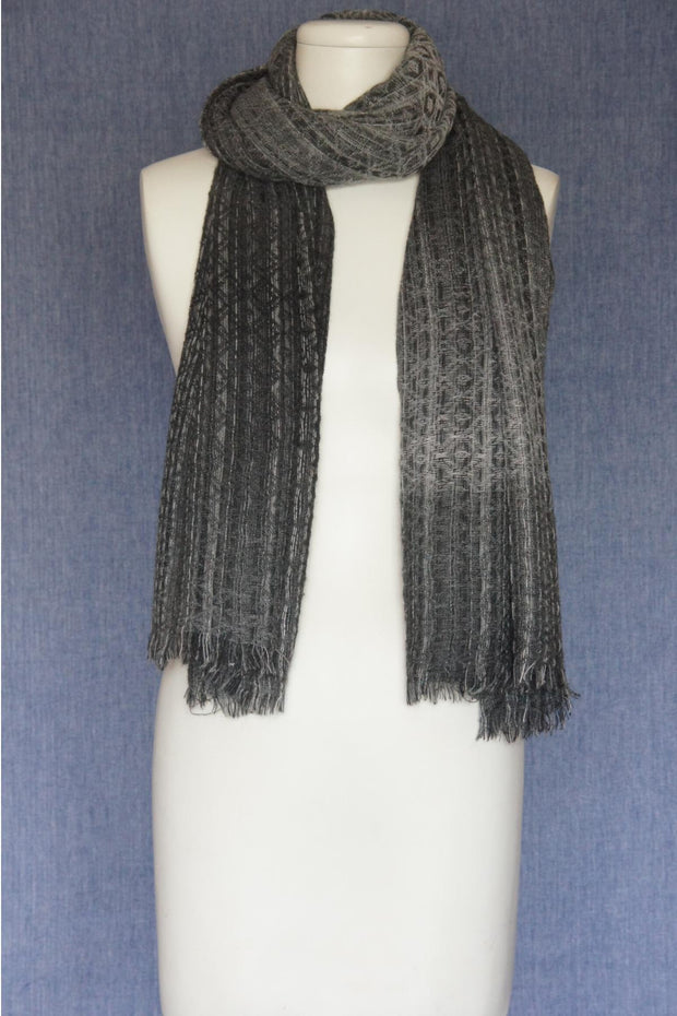 VSA Honeycomb Weave Scarf for Women Grey