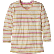 Patagonia Women's Mainstay 3/4 Sleeved Top Pacific Stripe: Marble Pink