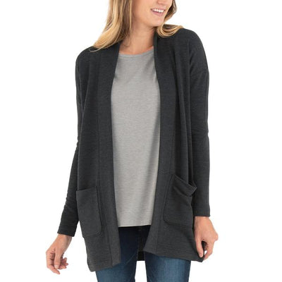Free Fly Apparel Thermal Fleece Cardigan Heather Black