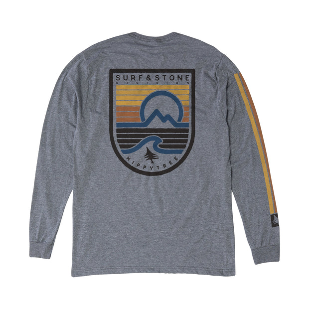 Hippy Tree Seastripe Long Sleeve Tee for Men Heather Grey