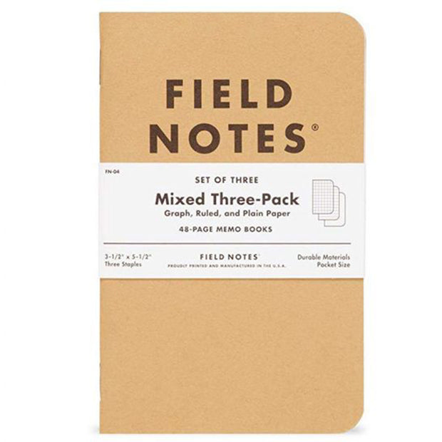 MIXED THREE-PACK MEMO BOOKS