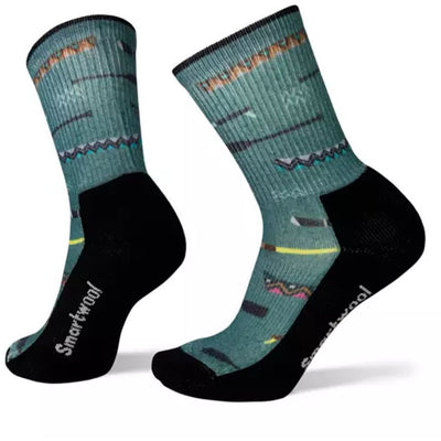 Light Canoe Print Hiking Crew Socks for Women