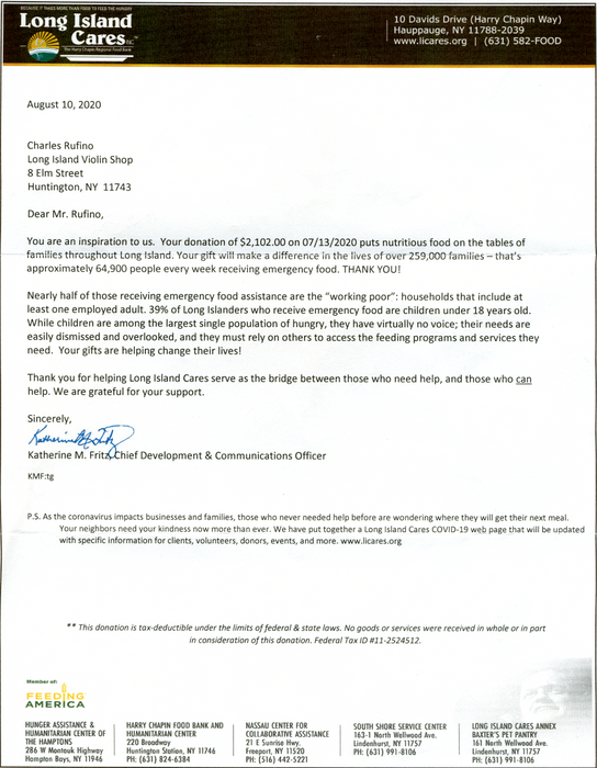 Thank You Letter From Long Island Cares