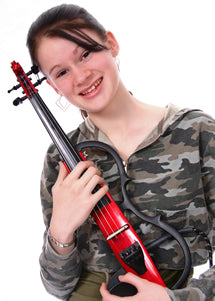 Girl holding electric violin