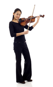 Woman standing and playing the violin