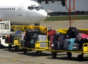 Cargo and luggage being loaded onto an airplane