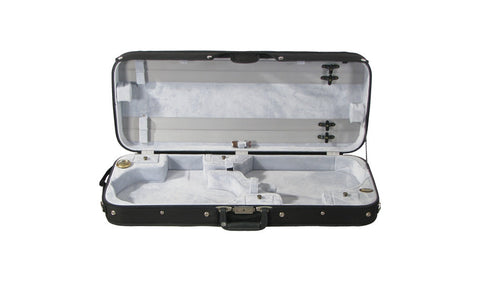 Bobelock 1015 Double Violin Case - Black With Tan Velour Interior