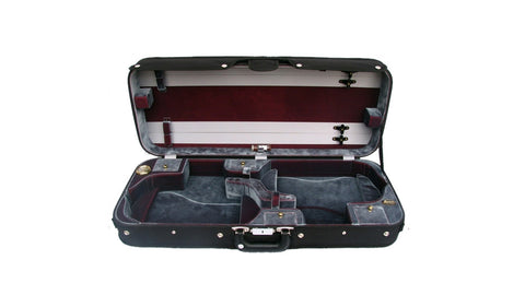 Bobelock 1015 Double Violin Case - Black w/ Gray Velvet Interior