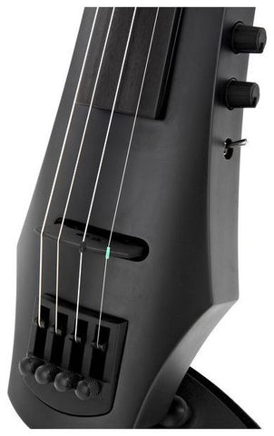 NS Design NXT4 4 String Electric Viola - Closeup Bridge (Satin Black Finish)