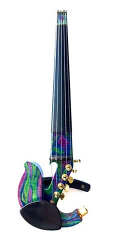 Custom - Jordan 5-String Electric Violin w/ StringAmp & Saphire/Emerald Body available at The Long Island Violin Shop