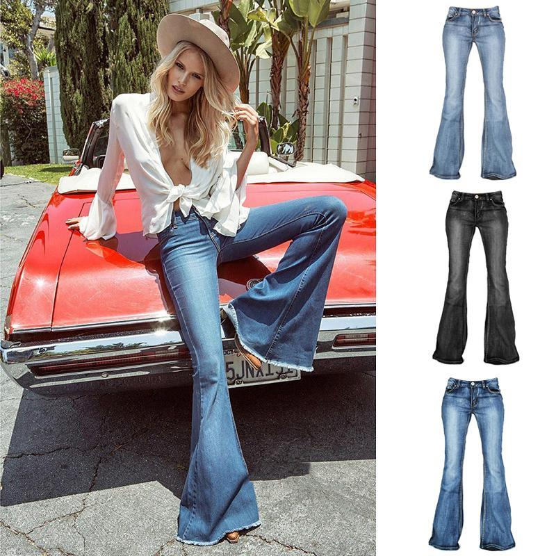 Stretchy Mid-waist Washed Boot-cut Jeans