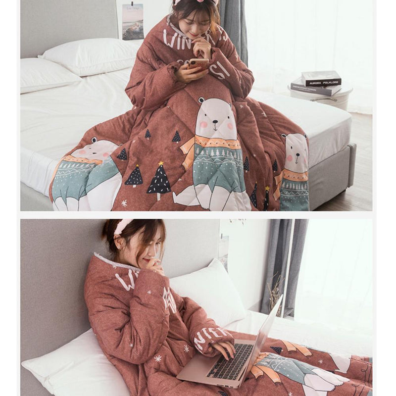 Multifunctional Winter Lazy Quilt With Sleeves