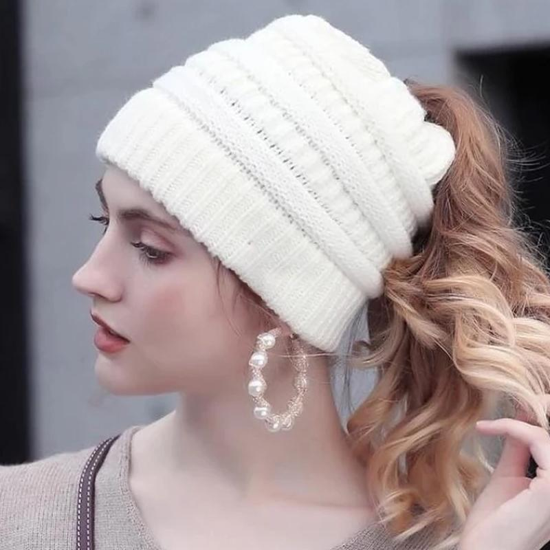 Soft Knit Ponytail Cap