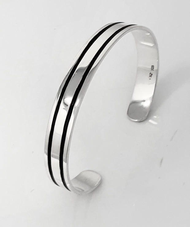 Sterling Silver Double Lines Cuff Bangle for Men