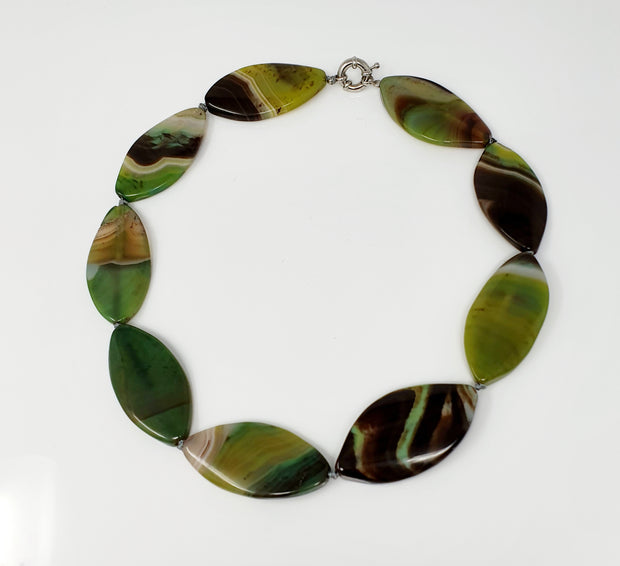 Chunky  Natural Green Agate Gemstone Necklace