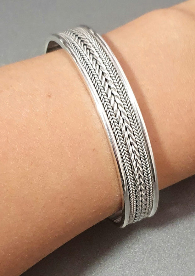 solid braided silver bangle