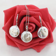 Freshwater Coin Pearl Necklace and Earring Set