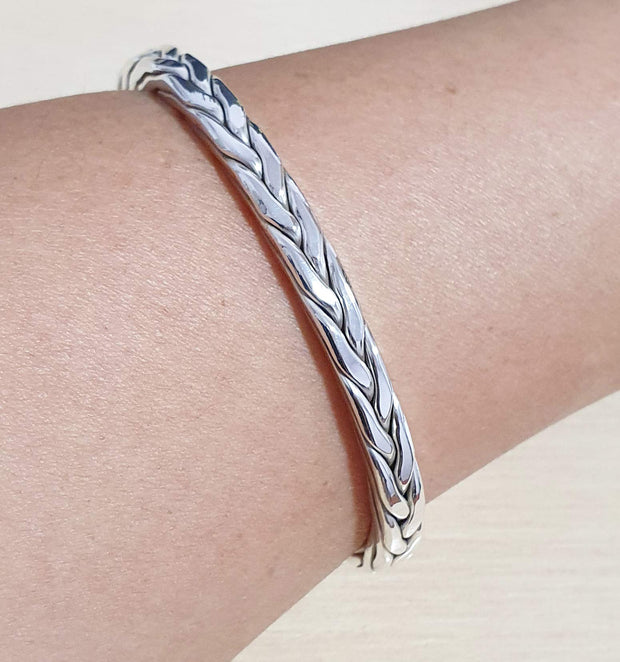 solid silver braided bangle for men