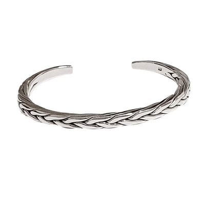 men's braided bangle silver