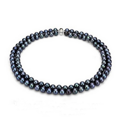 two row black pearl necklace