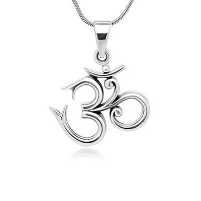 sterling silver om ohm pendant