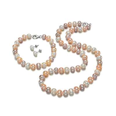 8-9mm Multi-Coloured Freshwater Pearl Necklace, Bracelet and Earrings Set