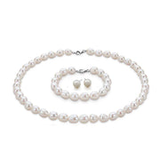 8mm Rice Shape Freshwater Pearl Necklace Bracelet & Earrings Tri Set