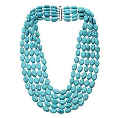 Five-Strand Turquoise Gemstone Beaded Necklace