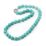 10mm Turquoise Beaded Gemstone Necklace