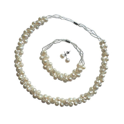 White Freshwater Pearl Necklace, Bracelet and Earring Set