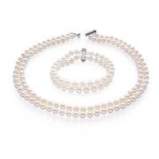 white peark double row necklace set