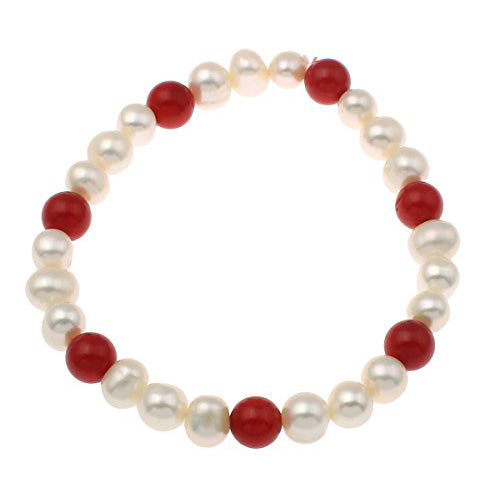Red Coral and White Freshwater Pearl Bracelet
