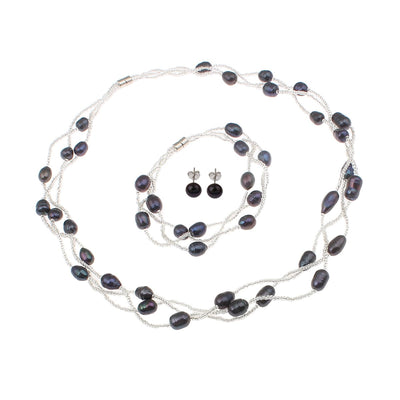 black pearl jewellery set